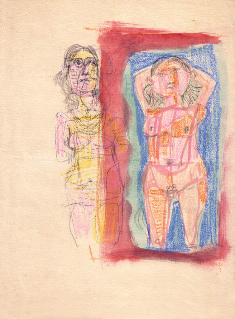 <em>Untitled</em>. Pencil, ballpoint pen, crayon and watercolour on paper, 8.5 x 11.5 inches, 1958