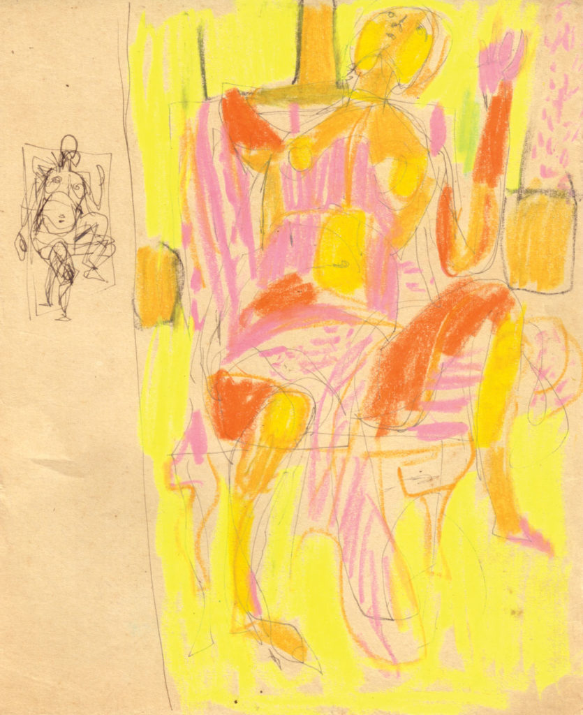 <em>Untitled</em>. Pen and crayon on paper, 6.5 x 8.5 inches, c1964