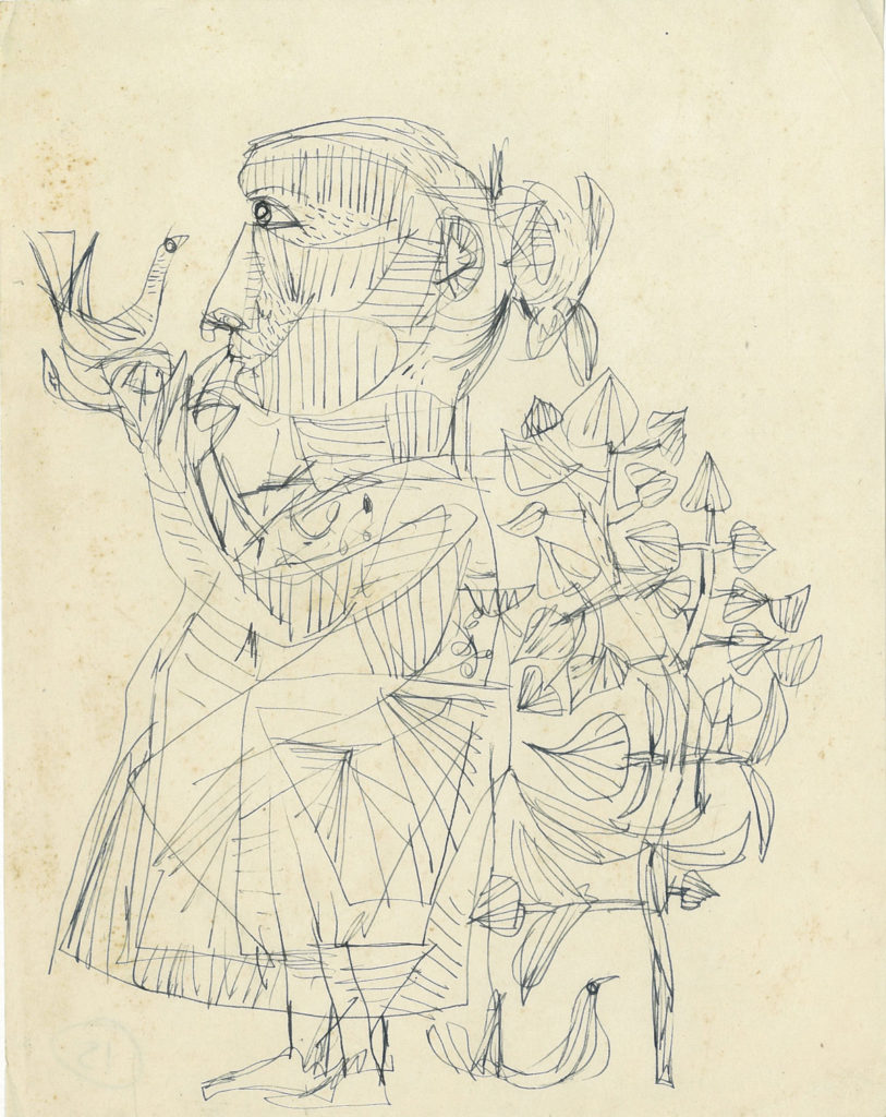 <em>Untitled</em>. Ballpoint pen on paper 6.75 x 8.75 inches, 1958