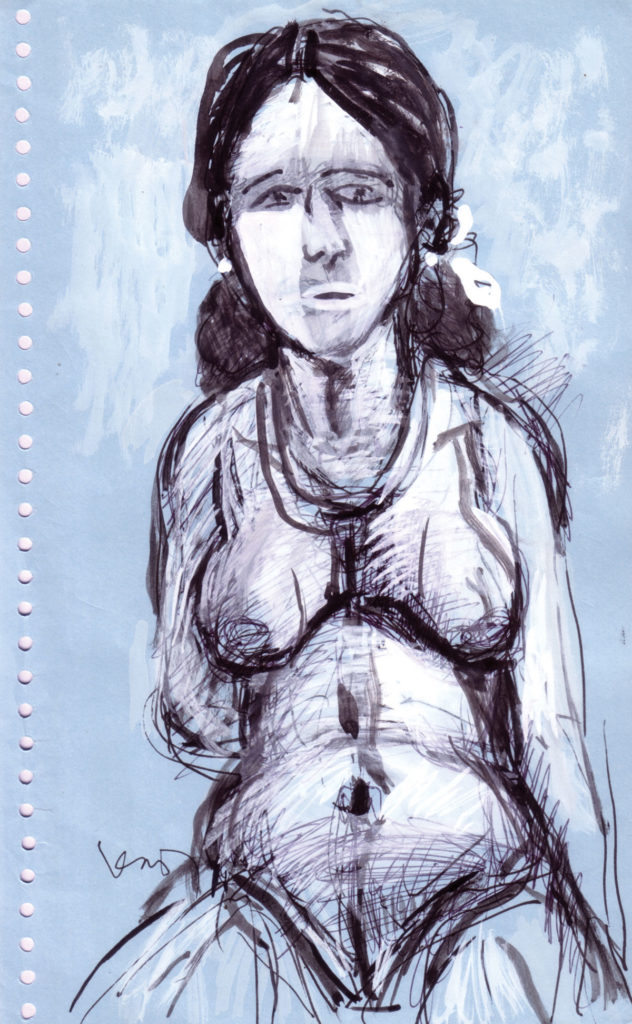 <em>Untitled</em>. Ballpoint pen, watercolour and crayon on paper, 5.5 X 8.75 inches, 2007