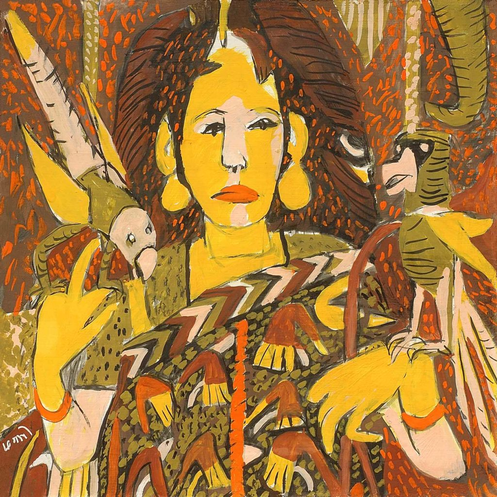 <em>Madonna with Birds 1</em>. Gouache on board, 15 x 15 inches, 2013