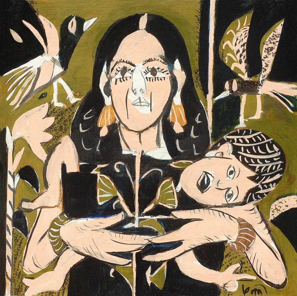 <em>Madonna with Child</em>. Gouache on board, 15 x 15 inches, 2013