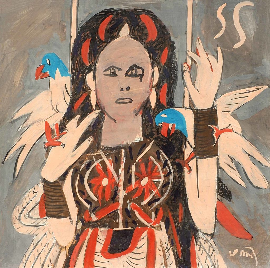 <em> Madonna with parrots</em>. Gouache on board, 15 x 15 inches, 2013