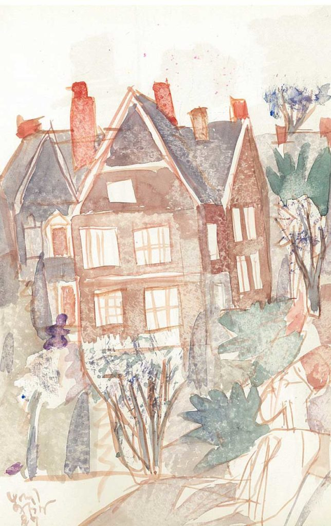 <em>Oxford 89</em>. Watercolour on paper, 5.25 x 8.25 inches, 1987