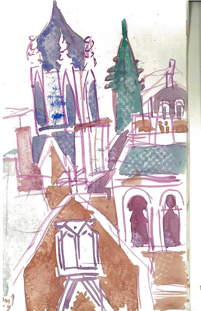 <em>Oxford 93</em>. Watercolour on paper, 5.25 x 8.25 inches, 1987