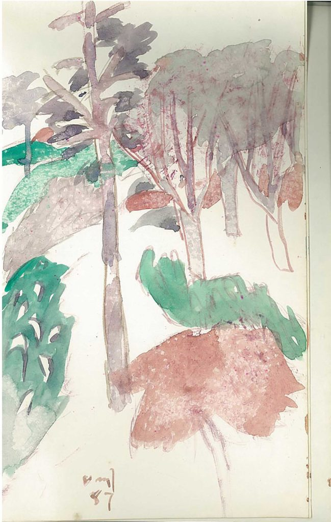 <em>Oxford 94</em>. Watercolour on paper, 5.25 x 8.25 inches, 1987/88