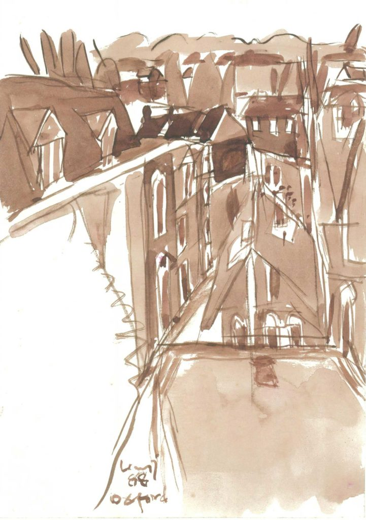 <em>Oxford 10</em>. Watercolour on paper, 5.75 x 8.25 inches, 1988
