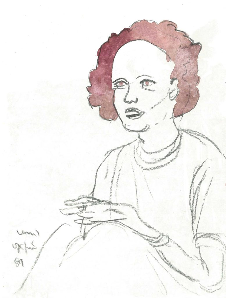 <em>Oxford 102</em>. Charcoal and watercolour on paper, 7 x 9 inches, 1987