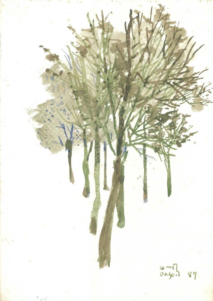 <em>Oxford 11</em>. Watercolour on paper, 8.25 x 11.5 inches, 1987
