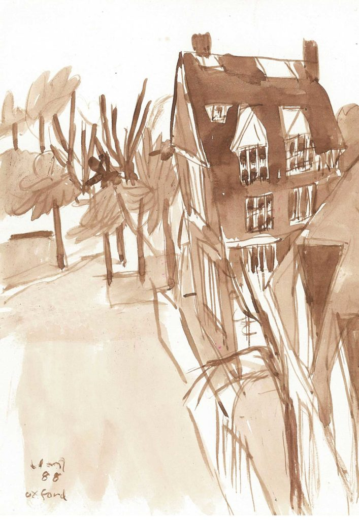 <em>Oxford 21</em>. Watercolour on paper, 5.75 x 8.25 inches, 1988