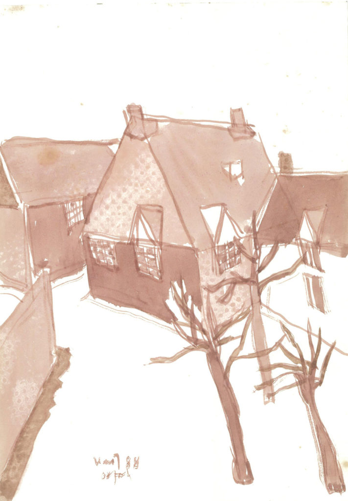 <em>Oxford 4</em>. Watercolour on paper, 5.75 x 8.25 inches, 1988