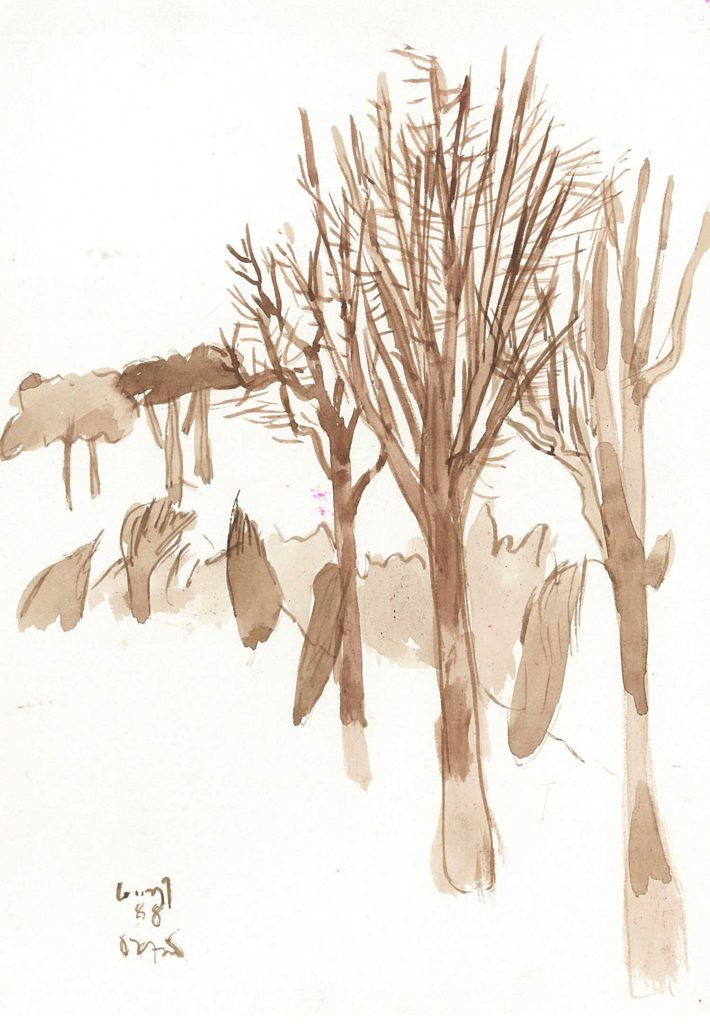 <em>Oxford 29</em>. Watercolour on paper, 5.75 x 8.25 inches, 1988
