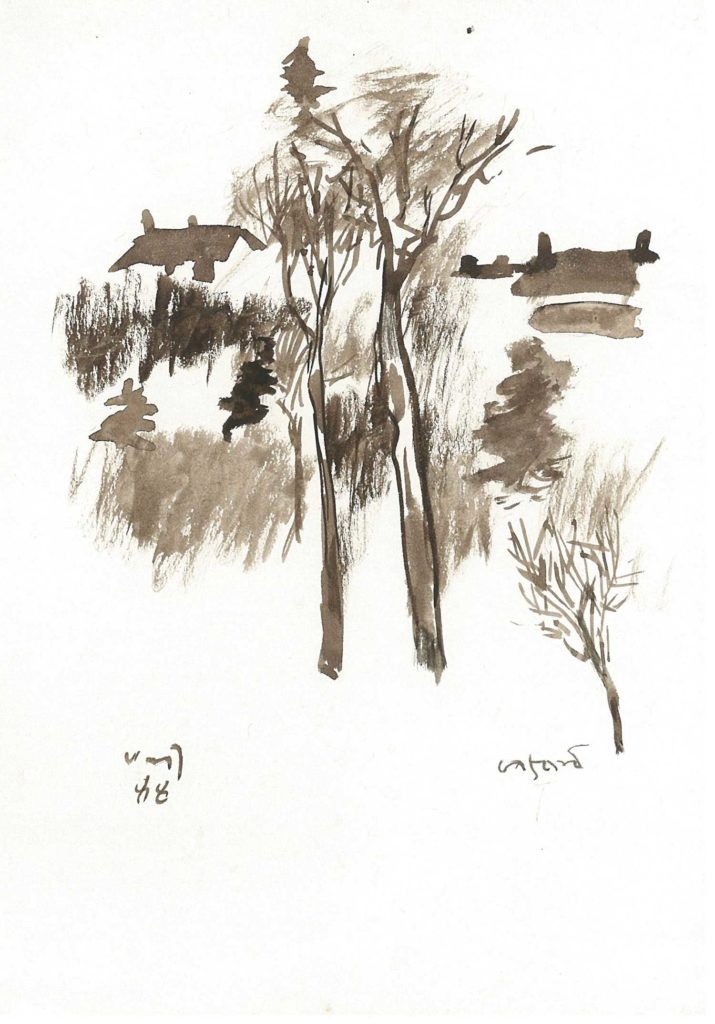 <em>Oxford 33</em>. Watercolour on paper, 5.75 x 8.25 inches, 1988