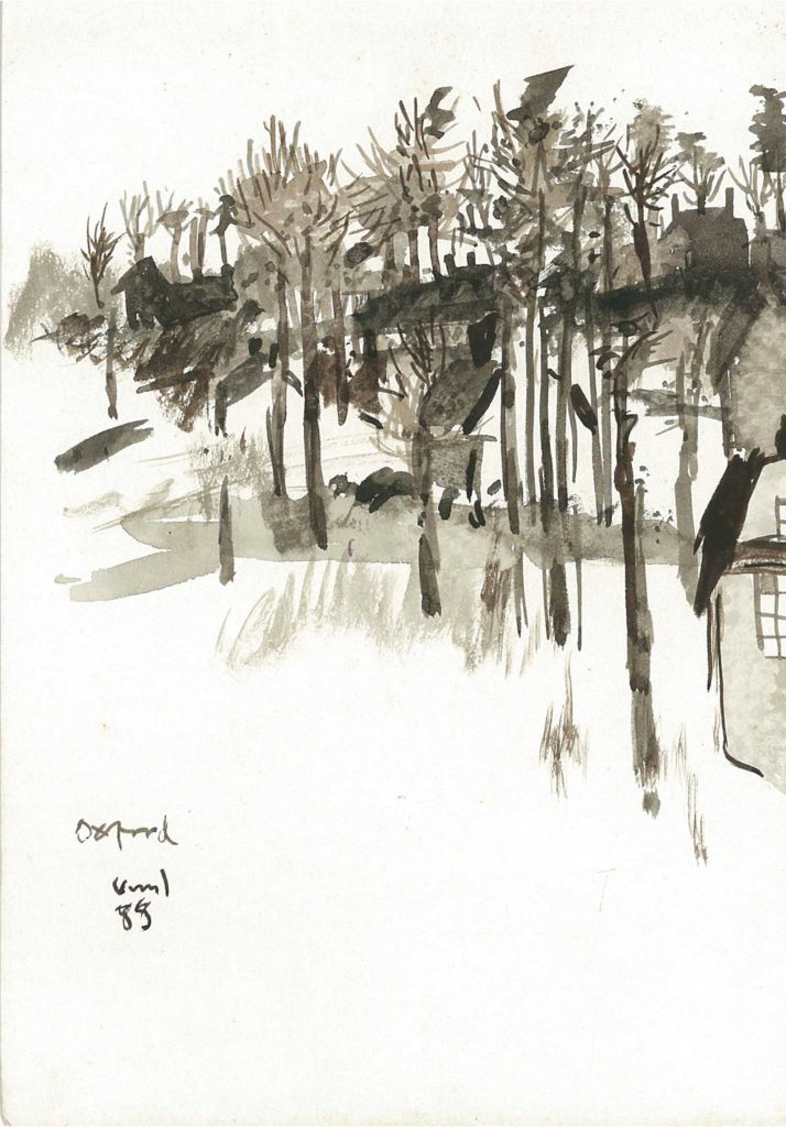 <em>Oxford 34</em>. Watercolour on paper, 5.75 x 8.25 inches, 1988