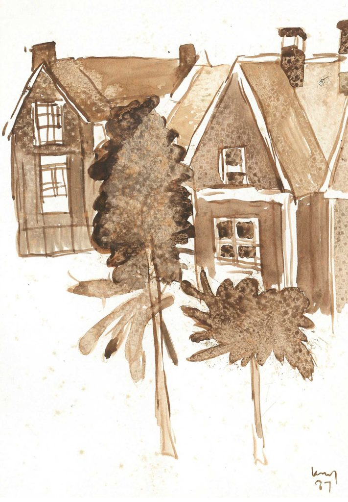 <em>Oxford 36</em>. Watercolour on paper, 5.75 x 8.25 inches, 1987
