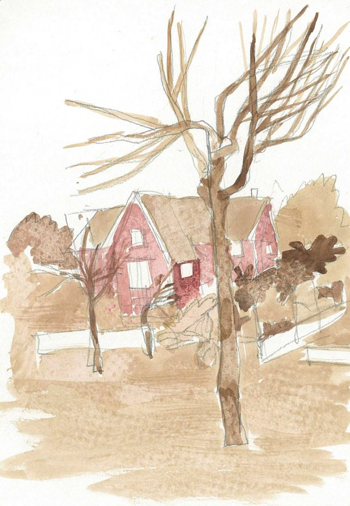 <em>Oxford 44</em>. Watercolour on paper, 5.75 x 8.25 inches, 1987/88