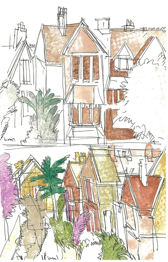 <em>Oxford 48</em>. Pen and watercolour on paper, 5.25 x 8.25 inches, 1987/88