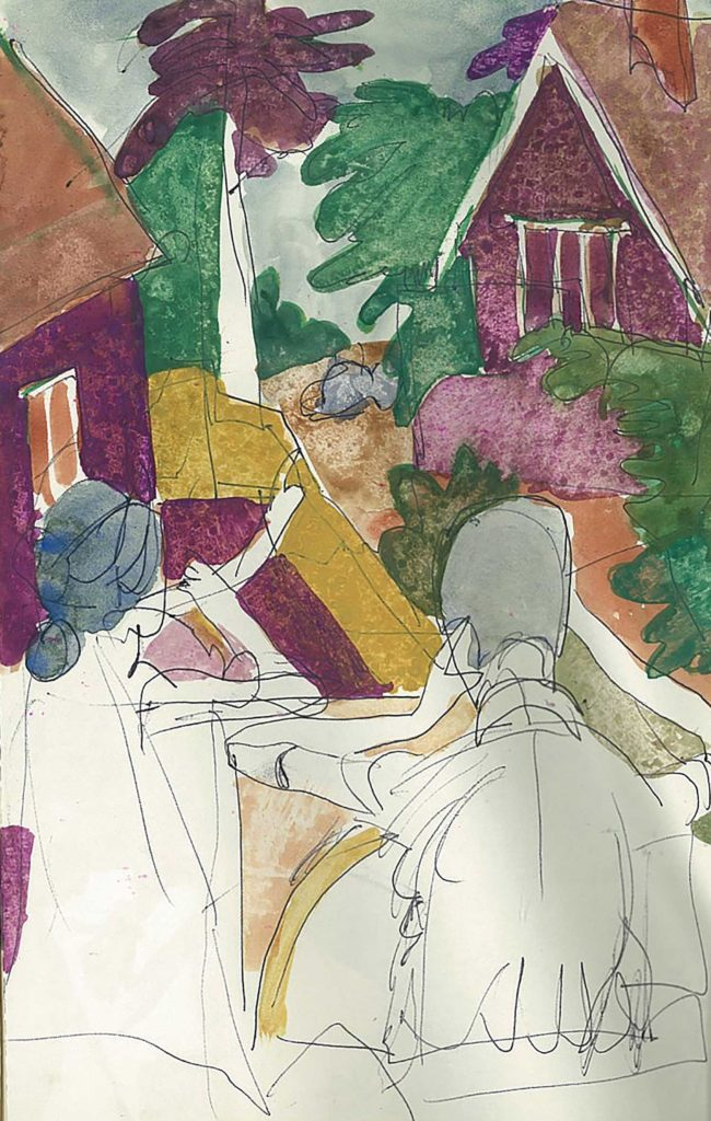 <em>Oxford 67</em>. Pen and watercolour on paper, 5.25 x 8.25 inches, 1987/78