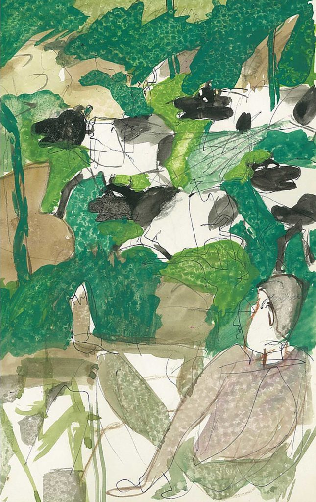 <em>Oxford 68</em>. Pen and watercolour on paper, 5.25 x 8.25 inches, 1987/88