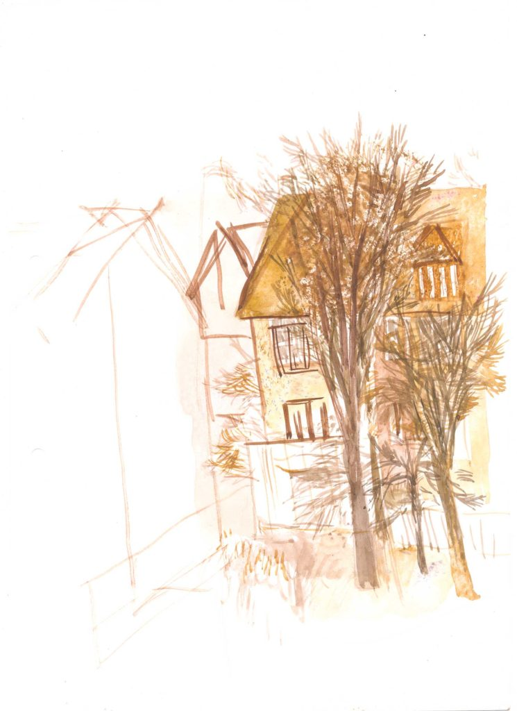 <em>Oxford 133</em>. Watercolour on paper, 7 x 9 inches, 1987